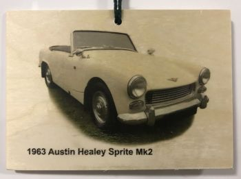Austin Healey Sprite Mk2 1963 - Wooden Plaque A6(148 x 105mm) - Free UK Delivery