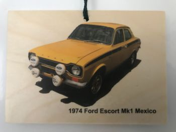 Ford Escort Mk 1 Mexico 1974 (Yellow or Blue) - Wooden Plaque 148 x 105mm