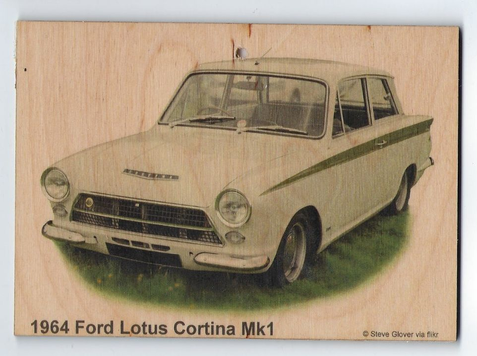 Ford Lotus Cortina Mk1 1964 - Wooden Plaque 148 x 105mm