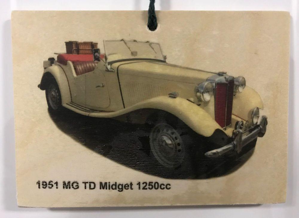 MG TD Midget 1250cc 1951 - Wooden Plaque 105 x 148mm