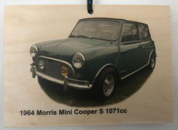 Morris Mini Cooper S 1071cc 1964 - Wooden plaque 105 x 148mm