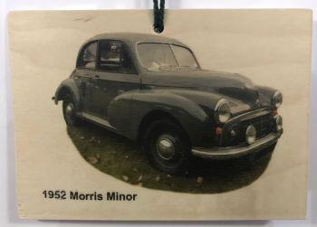 Morris Minor 998cc 1952 - Wooden Plaque 105 x 148mm