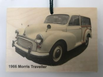 Morris Minor Traveller 1966 (Cream)- Wooden Plaque 105 x 148mm