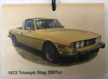 Triumph Stag 2997cc 1972 - Wooden Plaque 105 x 148mm