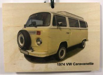 VW Caravanette 1974 - Wooden Plaque 105 x 148mm