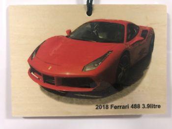 Ferrari 488 3.9litre 2018 - Small wooden plaque 148 x 105mm