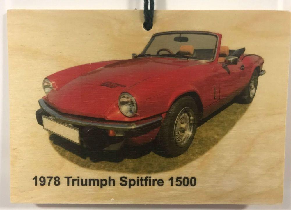 Triumph Sptfire 1500 1978 - Wooden Plaque 105 x 148mm