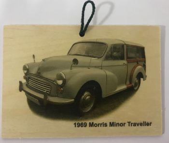 Morris Minor Traveller 1969 (Pale Blue) - Wooden Plaque 105 x 148mm