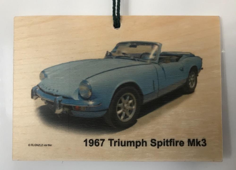 Triumph Spitfire Mk3 1967 - Wooden Plaque 105 x 148mm
