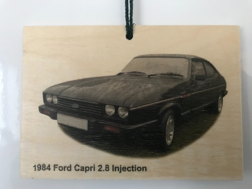 Ford Capri 2.8 Injection 1984 - Wooden Plaque 148 x 105mm