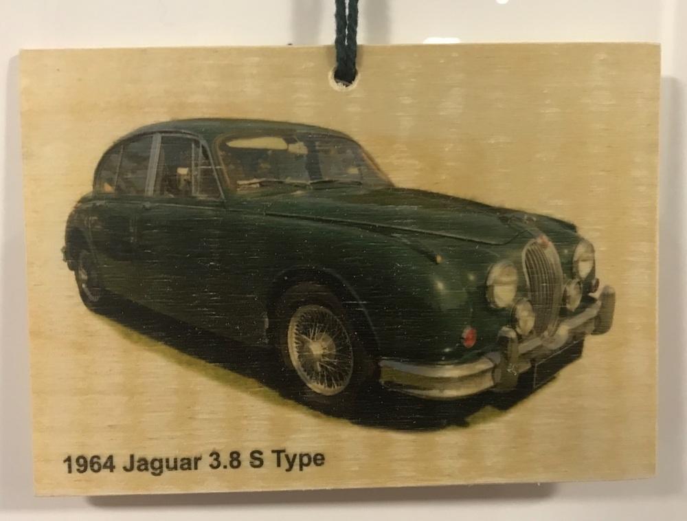 Jaguar 3.8 S-Type 1964 - Wooden Plaque 148 x 105mm
