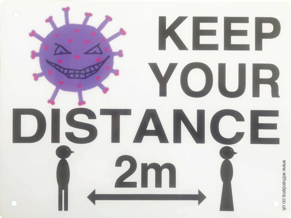 'Keep Your Distance.'  - Metal Sign with Vic & Vera Virus