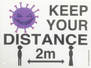 'Keep Your Distance.'  - Metal Sign with Vic & Vera Virus - Free UK Delivery