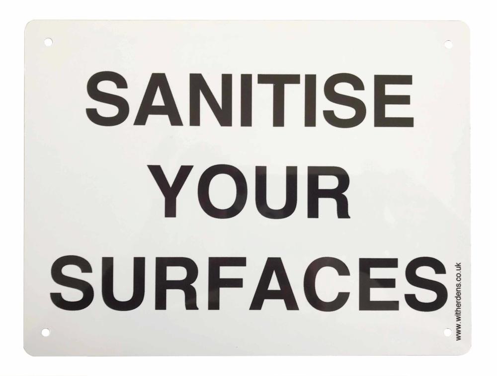 'Sanitise Your Surfaces.' - Plain Metal Sign