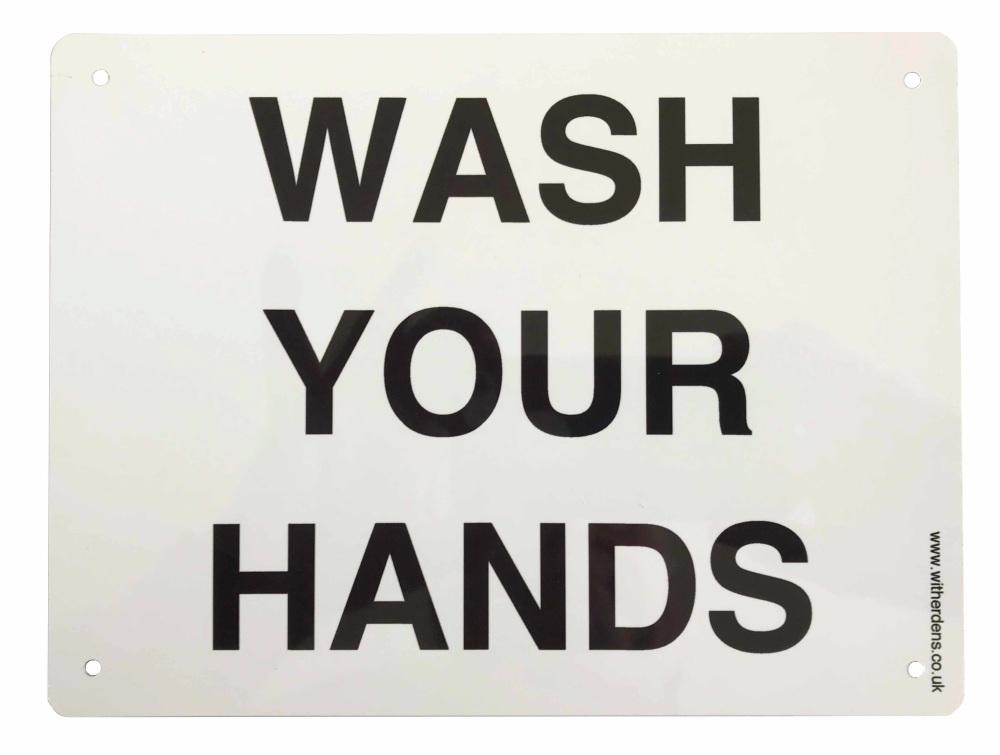 'Wash Your Hands'  - Plain Metal sign