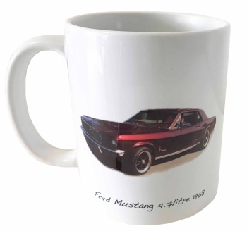 Ford Mustang 4.7L 1968 Ceramic Mug - Ideal Gift for the American Car Enthusiast - Free UK Delivery