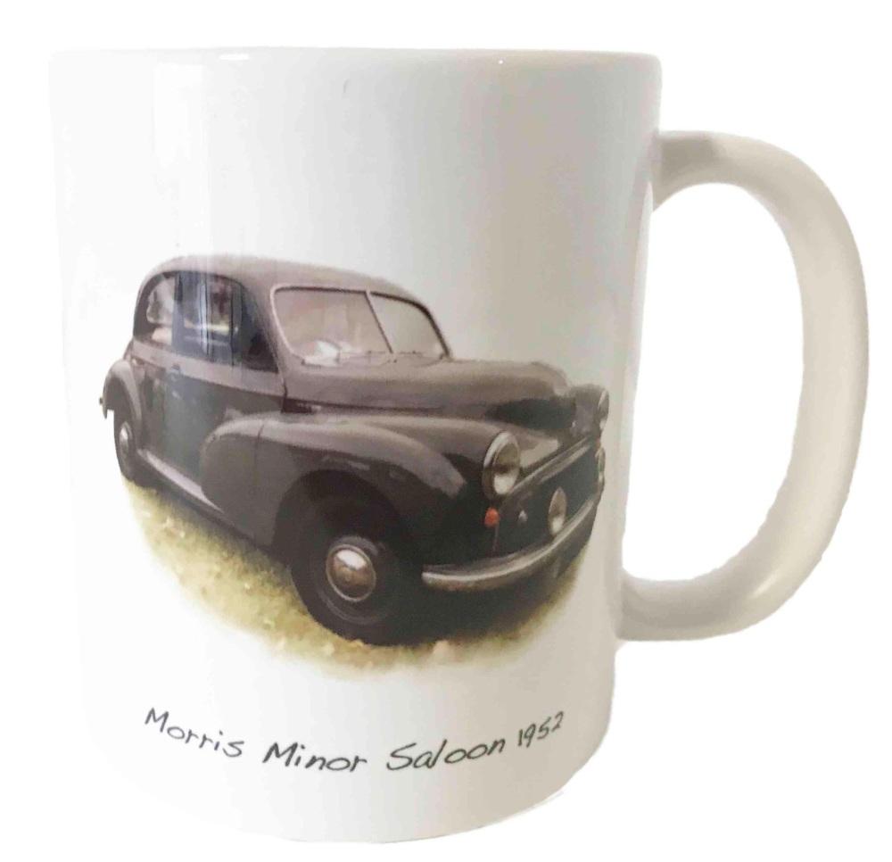 Morris Minor Saloon 1952 - Ceramic Mug - Car Memories from the 50s.