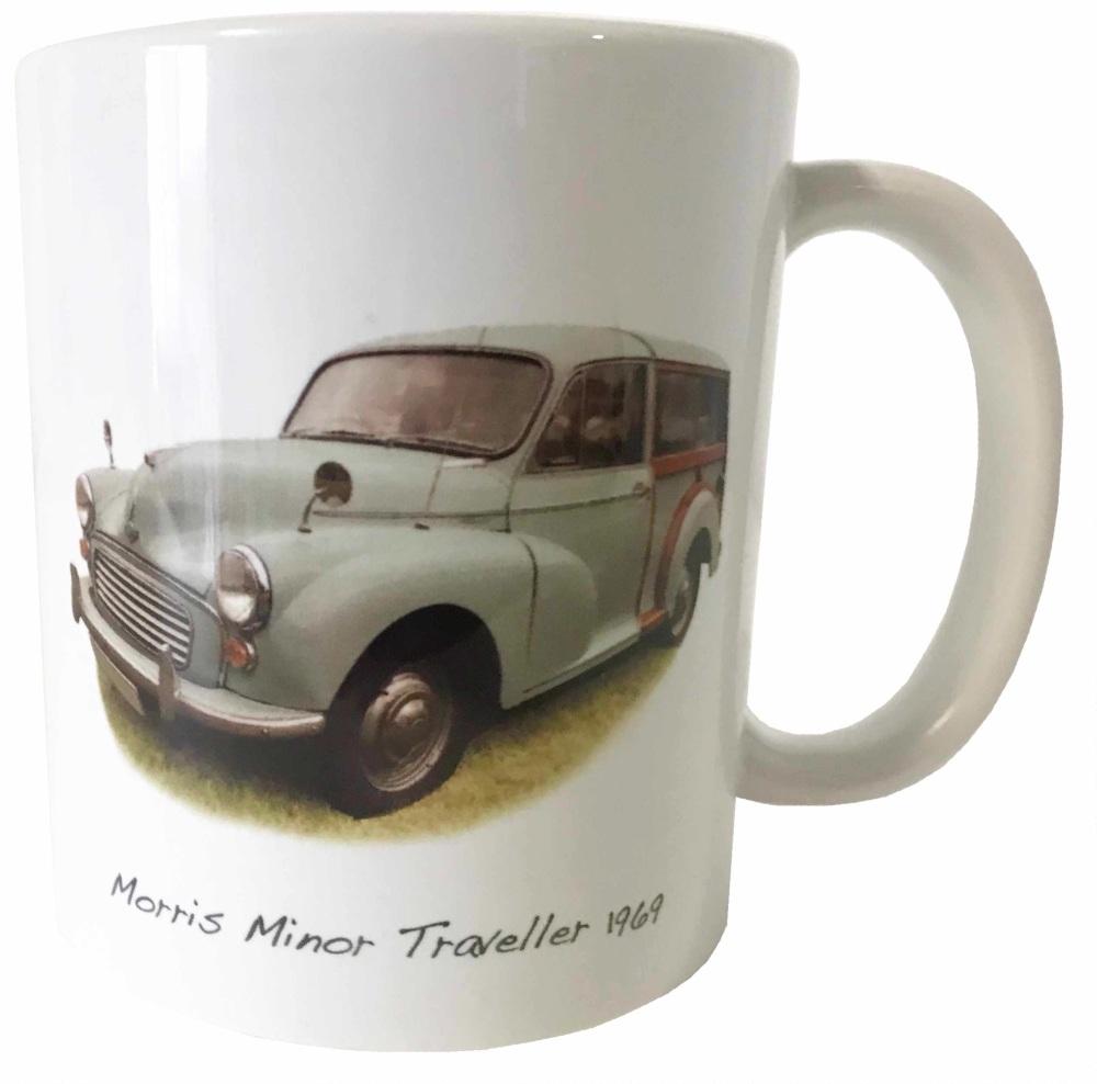 Morris Minor Traveller 1969 (Pale Blue) Ceramic Mug - First Car Memories.