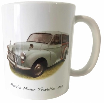 Morris Minor Traveller 1969 (Pale Blue) Ceramic Mug - First Car Memories - Free UK Delivery