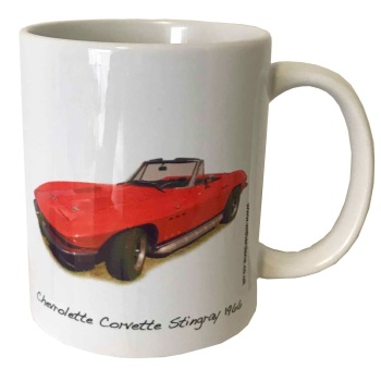 Chevrolet Corvette Stingray 1966 Ceramic Mug - Ideal Gift for the American Car Enthusiast - Free UK Delivery