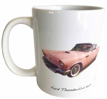 Ford Thunderbird 1955 (Pink) Ceramic Mug - Ideal Gift for the American Car Enthusiast - Free UK Delivery