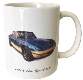 Lotus Elan Sprint 1972 (Red or Blue) - 11oz Ceramic Mug - Ideal Gift for the Sports Car Enthusiast - Free UK Delivery
