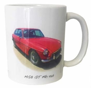 MGB GT 1969 (Red) Ceramic Mug - Ideal Gift for the Sports Car Enthusiast - Free UK Delivery