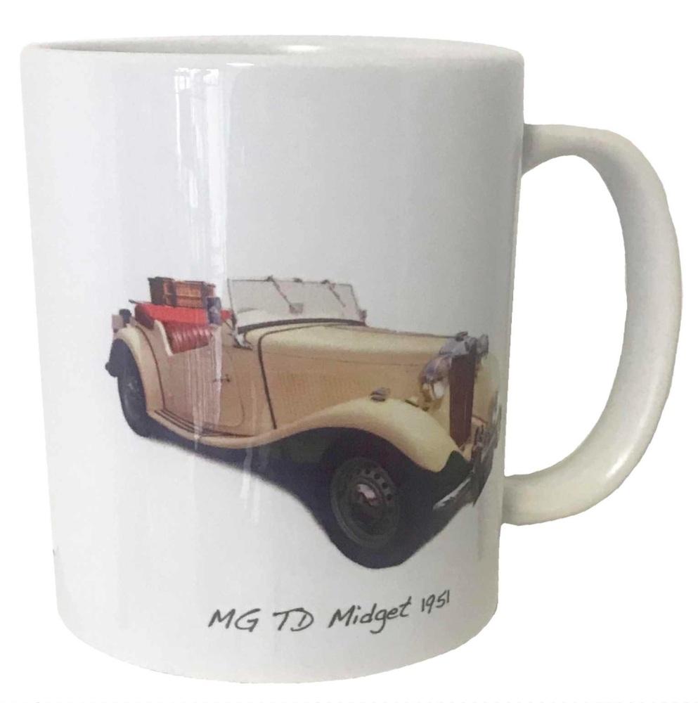 MG TD Midget 1951 Ceramic Mug - Ideal Gift for the Vintage Sports Car Enthu