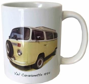 VW Caravanette 1974 (Pale Yellow) Ceramic Mug - Iconic Camper Van - Free UK Delivery