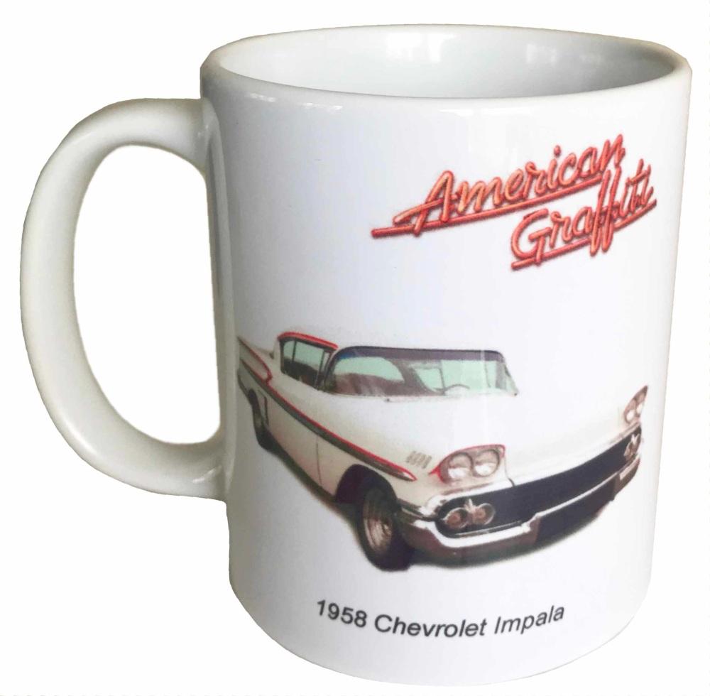 Chevrolet Impala 1958 Ceramic Mug - American Graffiti - Ideal Gift for the