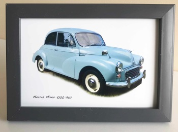Morris Minor 1000 1962 (Pale Blue) -  Photo (4x6in) in a Charcoal coloured frame - Free UK Delivery
