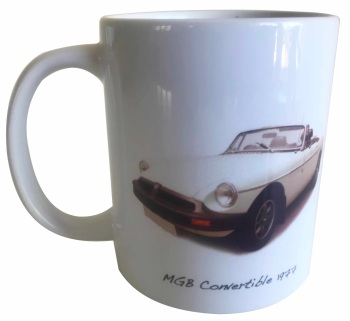 MGB Convertible 1977 (White) Ceramic Mug - Ideal Gift for the Sports Car Enthusiast - Free UK Delivery