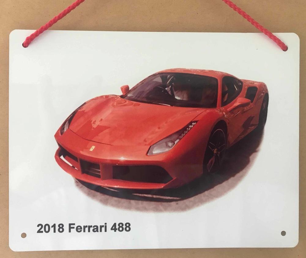 Ferrari 488 2018 - Aluminium Plaque 150 x 200mm