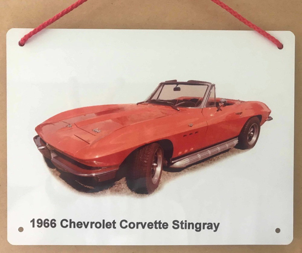 Chevrolet Corvette Stingray 1966 - Aluminium Plaque 150 x 200mm