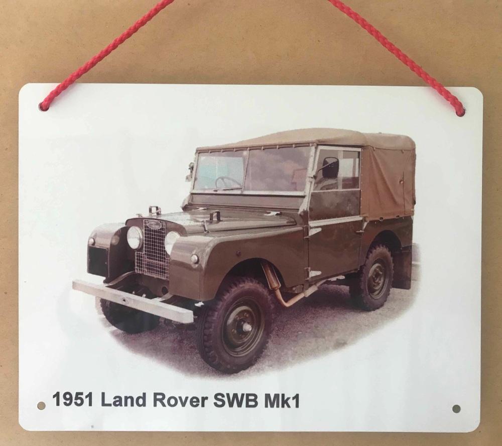 Land Rover SWB Mk1 1951 - Aluminium Plaque 150 x 200mm