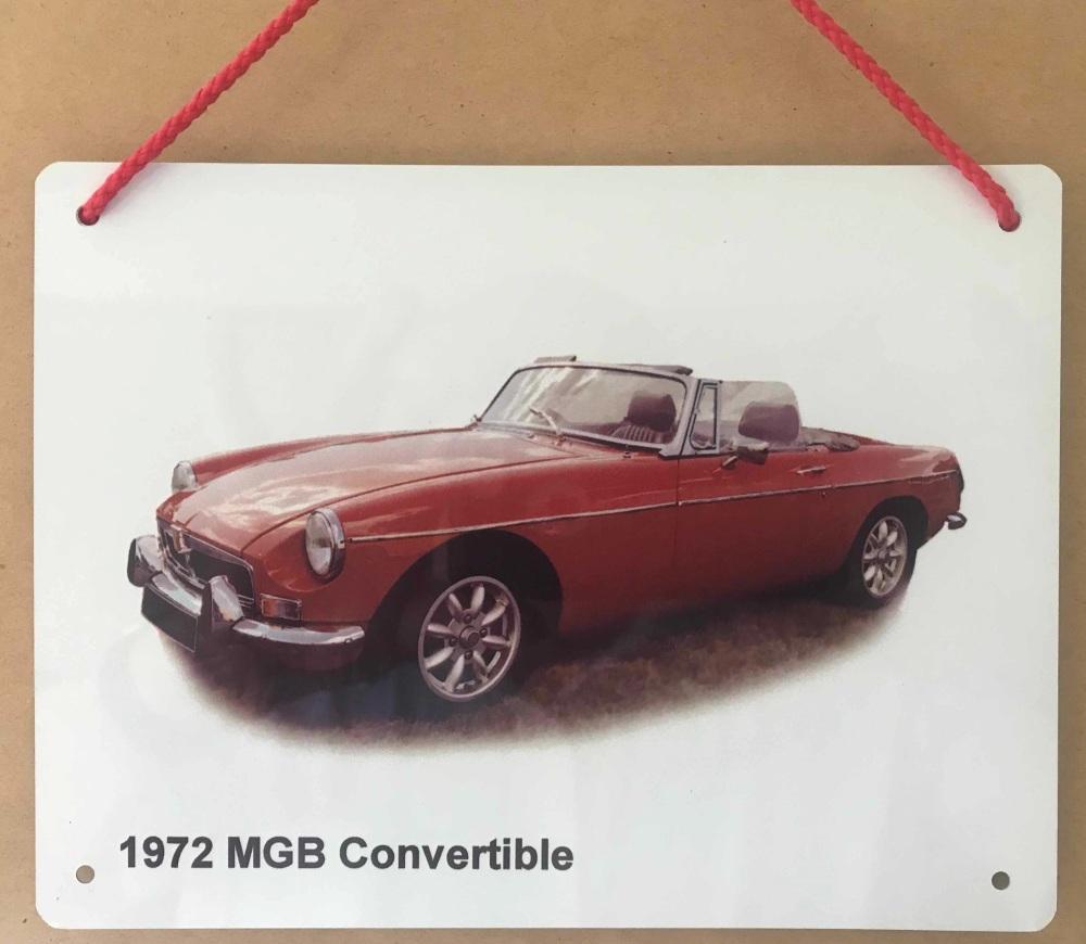 MGB Convertible 1972 (Red)- Aluminium Plaque 150 x 200mm