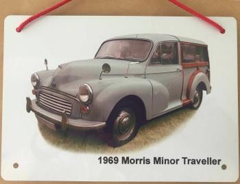 Morris Minor Traveller 1969 (Pale Blue)- Aluminium Plaque 148 x 210mm
