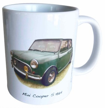 Mini Cooper S 1071cc 1964 - Ceramic Mug - Hot Cars from the Sixties - Free UK Delivery