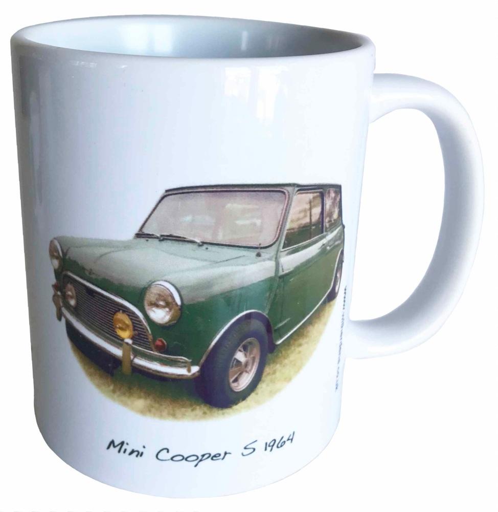Mini Cooper S 1071cc 1964 - Ceramic Mug - Hot Cars from the Sixties - Free