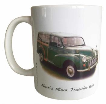 Morris Minor Traveller 1966 (Green) Ceramic Mug - First Car Memories - Free UK Delivery
