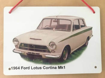 Ford Lotus Cortina Mk1 1964 - Aluminium Plaque 148 x 210mm