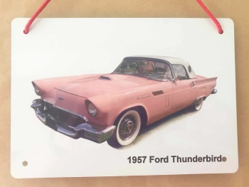 Ford Thunderbird 1957 (Pink)- Aluminium Plaque 148 x 210mm