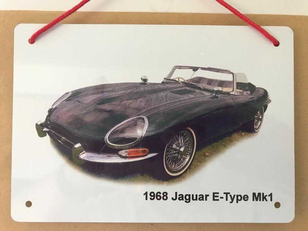 Jaguar E-Type Mk1 1968 - A5 Aluminium Plaque - Ideal Present for the Open T