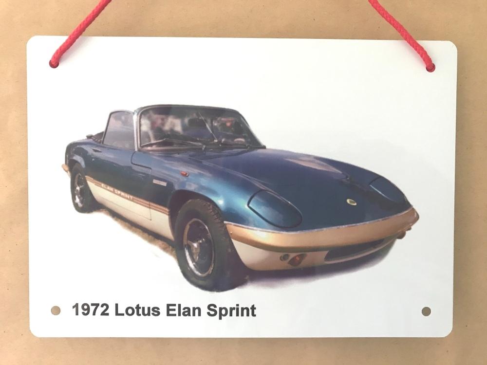 Lotus Elan Sprint 1972 - A5 Aluminium Plaque - Ideal Present for the Lotus