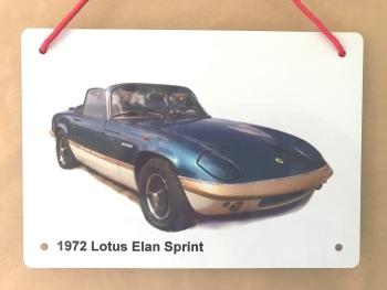 Lotus Elan Sprint 1972 - A5 Aluminium Plaque - Ideal Present for the Lotus Fan.