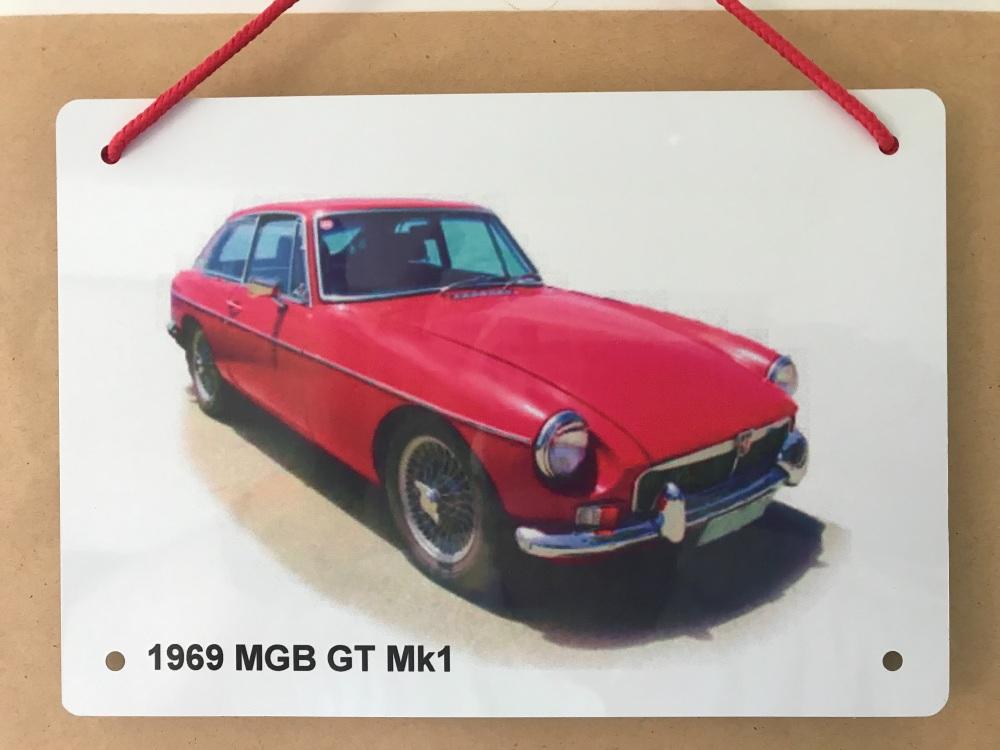 MGB GT Mk1 1969 - A5 Aluminium Plaque - Ideal Present for the British Car E
