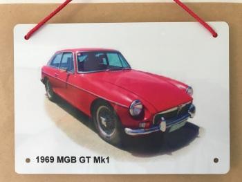 MGB GT Mk1 1969 - A5 Aluminium Plaque - Ideal Present for the British Car Enthusiast