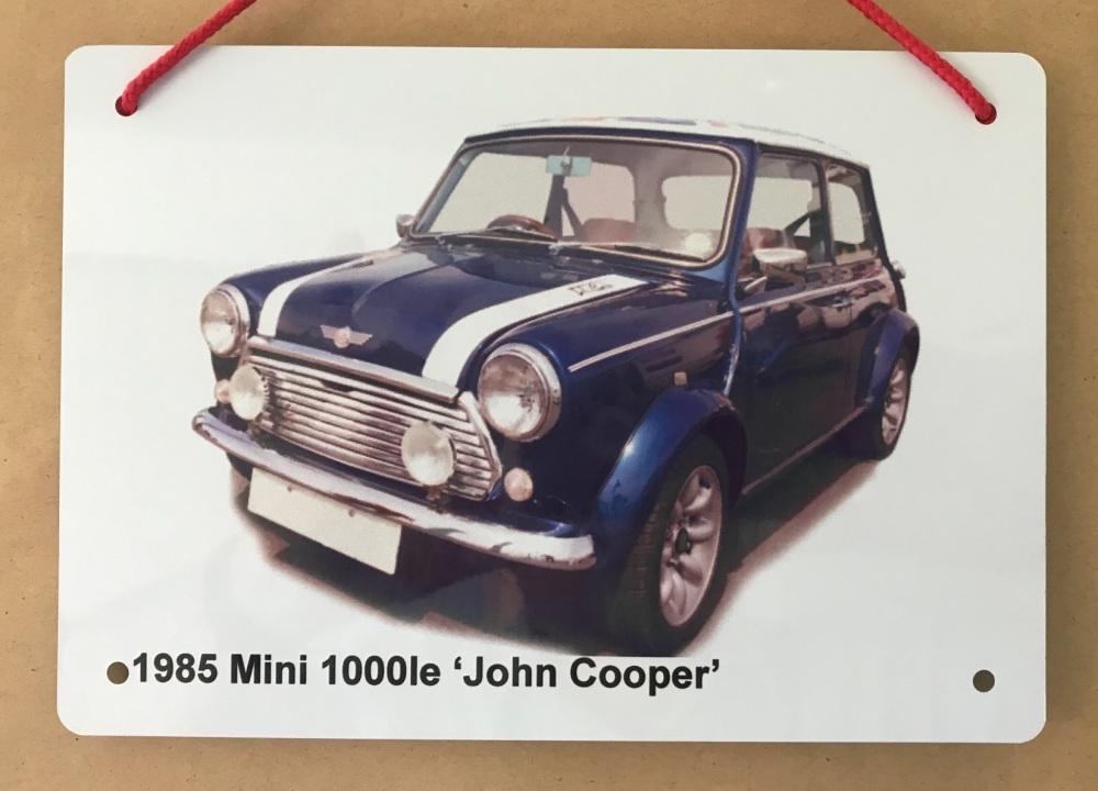 Mini 1000le 'John Cooper' edition 1985 - A5 Aluminium Plaque - Ideal Gift f
