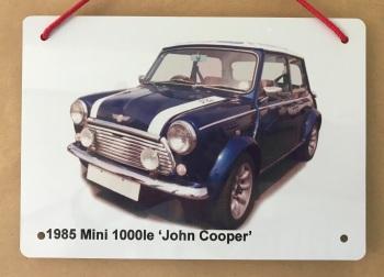 Mini 1000le 'John Cooper' edition 1985 - A5 Aluminium Plaque - Ideal Gift for the Mini Fan.