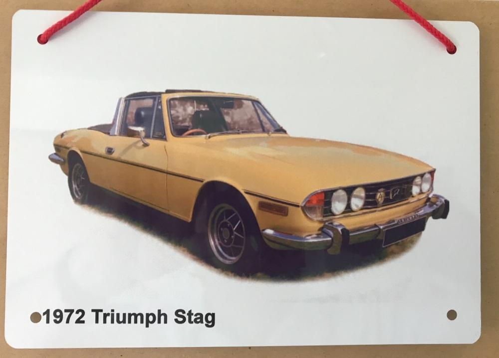 Triumph Stag 1972 - A5 Aluminium Plaque - Ideal Present for the British Car